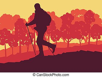 Nordic walking man landscape with forest trees vector...