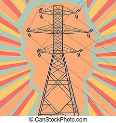 Energy distribution high voltage power line tower with electromagnetic field abstract burst vector