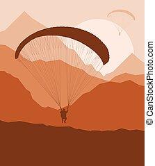 Paragliding jump landscape vector background for poster -...