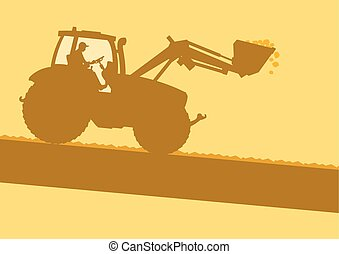 Farm tractor with worker inside cabin working in field...