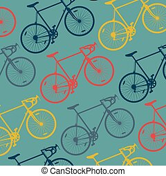 Hipster bicycle vector background texture with retro