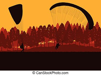 Paragliding jump landscape vector background for poster -...
