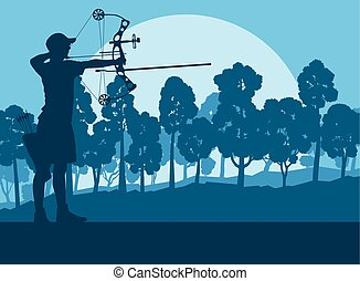Archer man with bow outdoor training in front of forest...