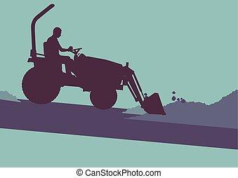 Farm tractor with worker inside cabin working in field...