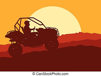 All terrain vehicle driver landscape with trees outdoor activity vector