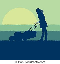 Woman with lawn mover cutting grass vector
