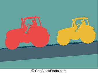 Tractor red and yellow in field vector background banner