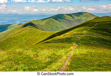 path through a meadow on mountain ridge - winding path...