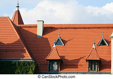 Tiled roof - New red tiled roof in an old building....