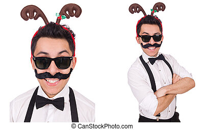Funny whiskered man with horns isolated on white