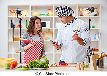 Food cooking tv show in the studio