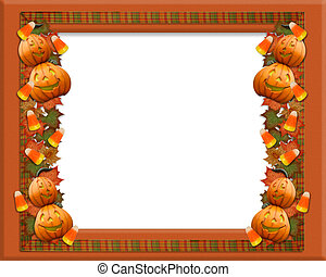 Halloween border leaves pumpkins - Image and Illustration...