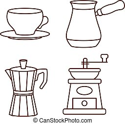 Coffee making and drinking equipment icons