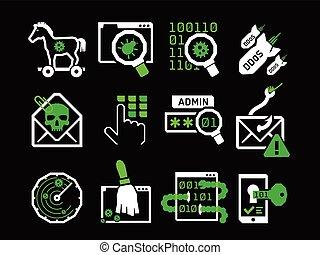 Hacking icons set