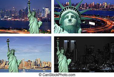 new york cityscape state liberty tourism concept