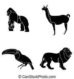 Set of zoo animals - Set of silhouettes of zoo animals,...