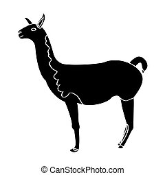Isolated llama silhouette - Isolated silhouette of a llama,...