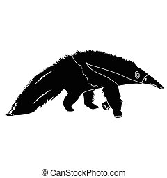 isolated anteater silhouette - Isolated silhouette of an...