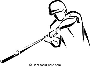 Home Run Hitter Accent - A stylized line illustration of a...