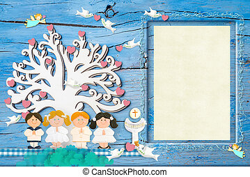 First communion photo frame invitations, group of children...