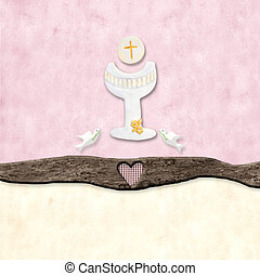 The symbols of the First Communion - The chalice and the...