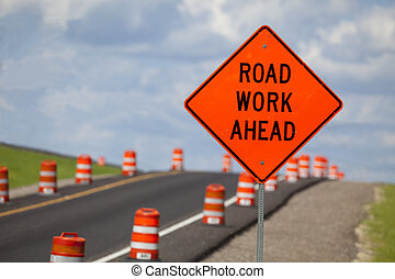 Road Construction Sign - Road construction zone with orange...