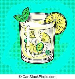 Mojito cocktail pop art vector illustration - Mojito...