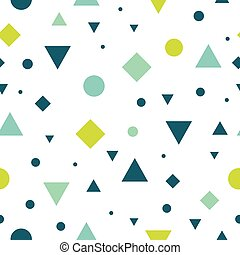 Vector Blue and Green Vintage Geometric Shapes Seamless Repeat Pattern Background. Perfect For Fabric, Packaging, Invitations, Wallpaper, Scrapbooking.