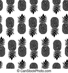 Fresh Black and White Pineapples Geometric Vector Repeat...
