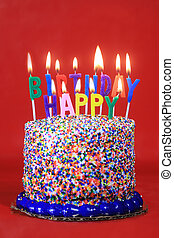Birthday Celebration Candles on Red Background
