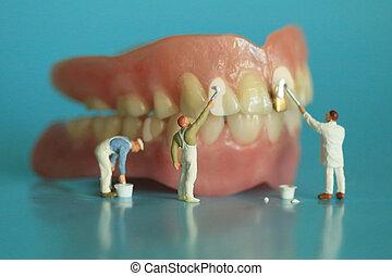 Miniature Workers Performing Dental Procedures. Dental...
