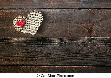Heart on a Wooden Background With Copy Space