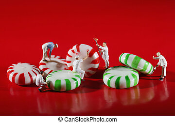 Miniature People Who Paint Colors on Our Candy - Miniature...