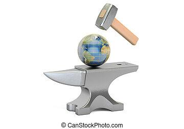 Anvil with Earth globe, 3D rendering isolated on white...