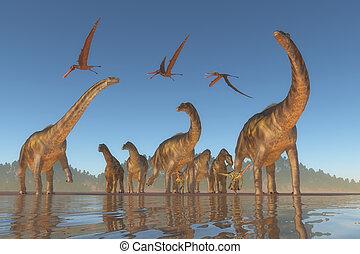 argentinosaurus,  cretaceous, manada