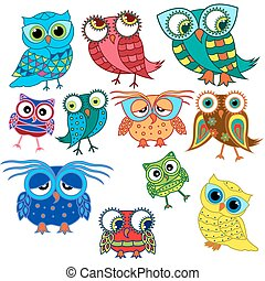 Eleven cartoon amusing owls - Set of eleven colourful...