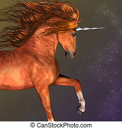 Dapple Chestnut Unicorn - A unicorn is a mythological...