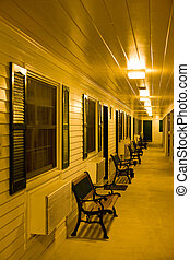motel at night, North Conway, New Hampshire, USA