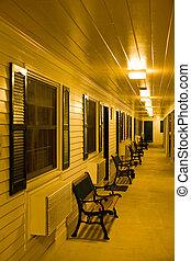 motel at night, North Conway, New Hampshire, USA