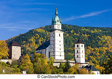 Kremnice, Slovakia - castle and church of St. Catherine,...