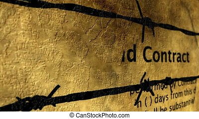 Contract and barbwire grunge concept