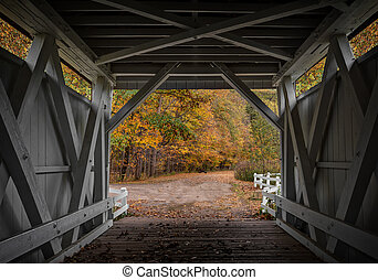 Everett Road Covered Bridge - Looking out at the beautiful...