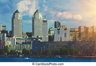 Towers twin on the river bank in city Dnipro - Towers twin...