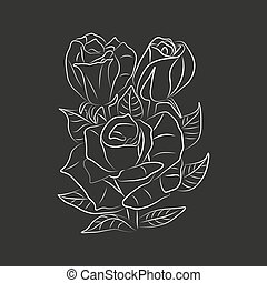 Vector abstract flowers isolated on black background