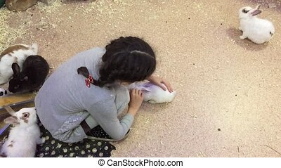 Girl and rabbit. Girl teenager stroking small rabbits, zoo...