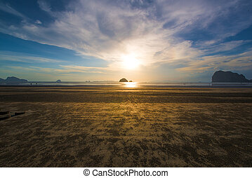 beautiful beach and sky in sunset at Trang,Thailand.