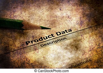 Product data  grunge concept