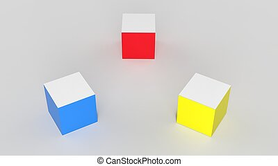 Luminecent cubes in primary colors