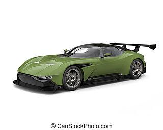 Forest green modern sports car - studio shot
