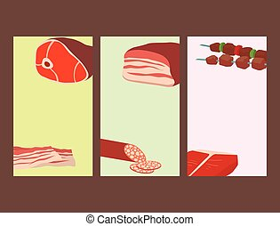 Meat products set of cartoon cards delicious barbecue kebab...